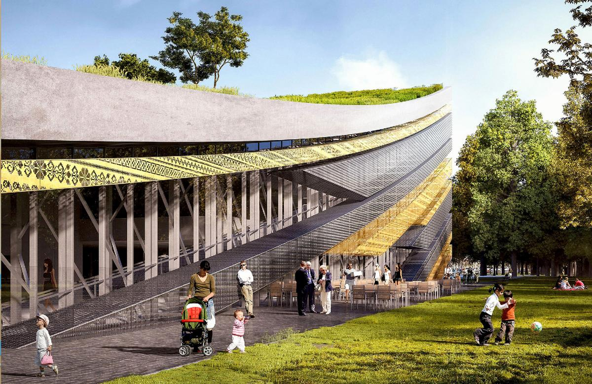 The winning scheme is a gradually curving convex volume with an intricate, partly golden patterned facade / Museum of Ethnography/Axion Visual