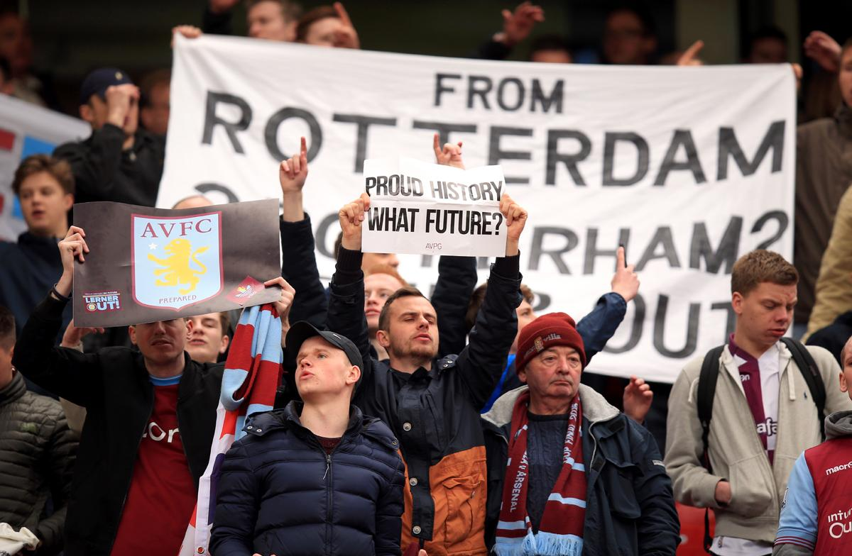 Aston Villa fans regularly protested during the final months of Randy Lerner's ownership / Mike Egerton/EMPICS Sport