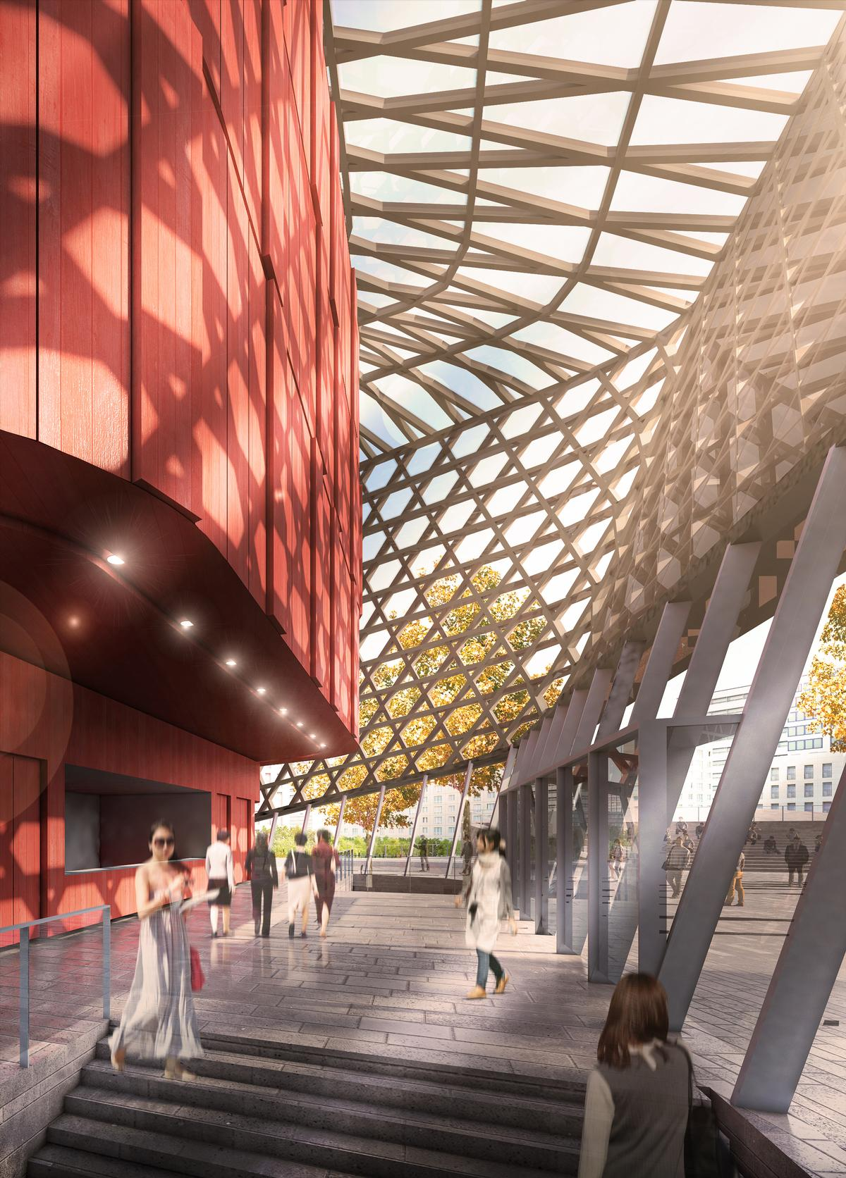 The exteriors of the halls will be copper and red, with a gold coloured web surrounding them / GMP