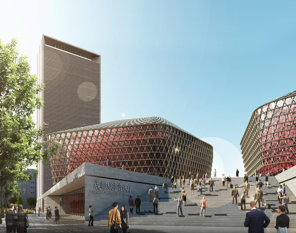 The Complex Will Sit On Top Of A Grey Stone Podium In Chengduu0027s Music  District / GMP