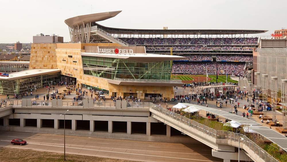 Target Field in Minneapolis is located on a very tight urban site, surrounded by parking and mass transportation / PHOTO: Paul Crosby