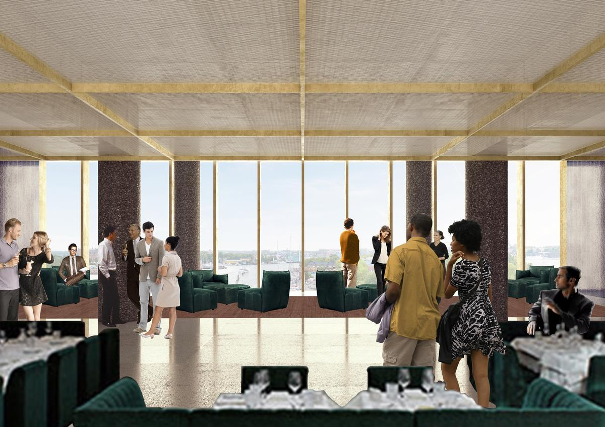 The restaurant and bar have been moved to the top floor to create more public engagement / David Chipperfield Architects