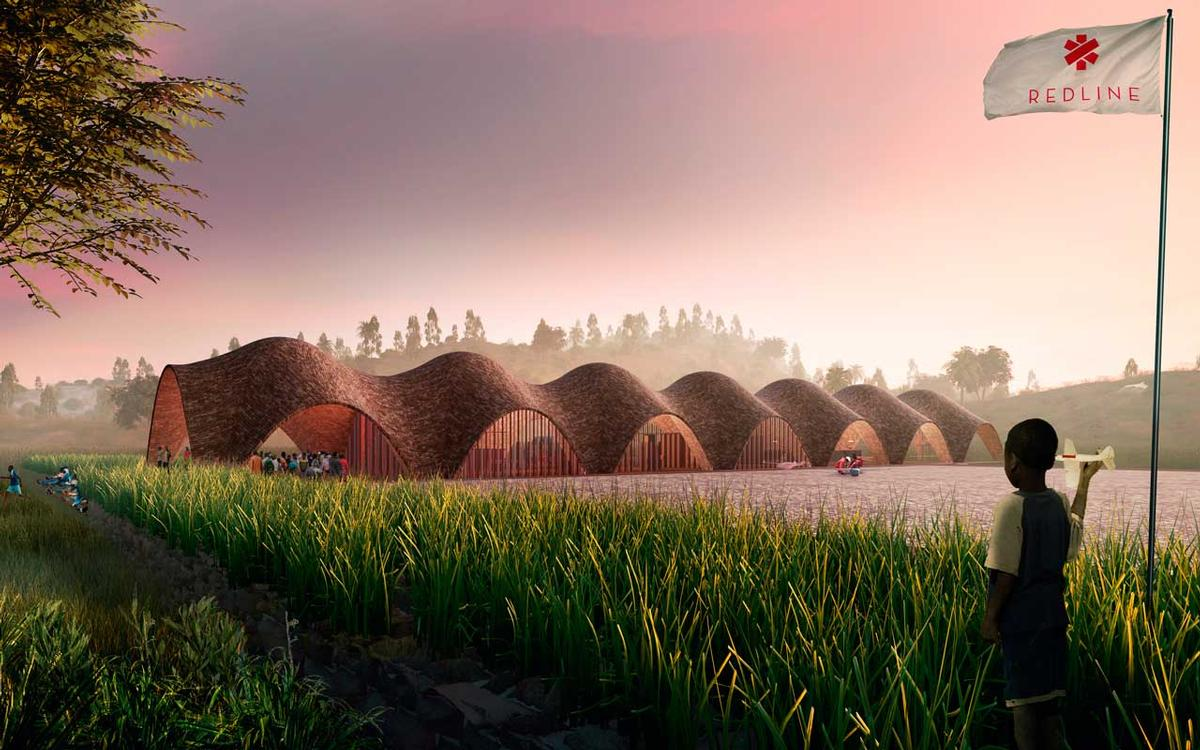 The vaulted brick Droneport building is conceived as a kind of kit, where the basic formwork and brick-press machinery is delivered to the site, and the raw materials are locally sourced / Foster + Partners