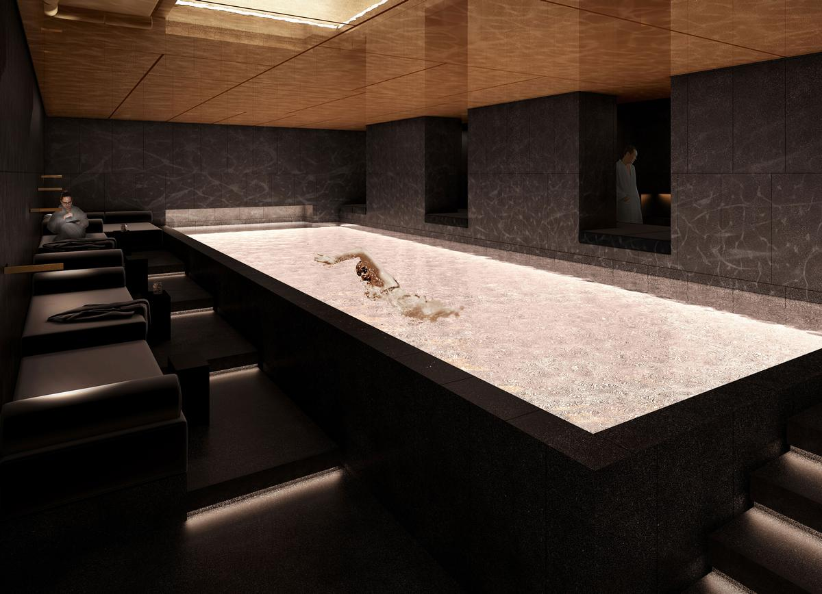 The spa is set inside several historic bank vaults, which have been converted into treatment rooms, swimming pools, saunas, a whirlpool area and an auditorium