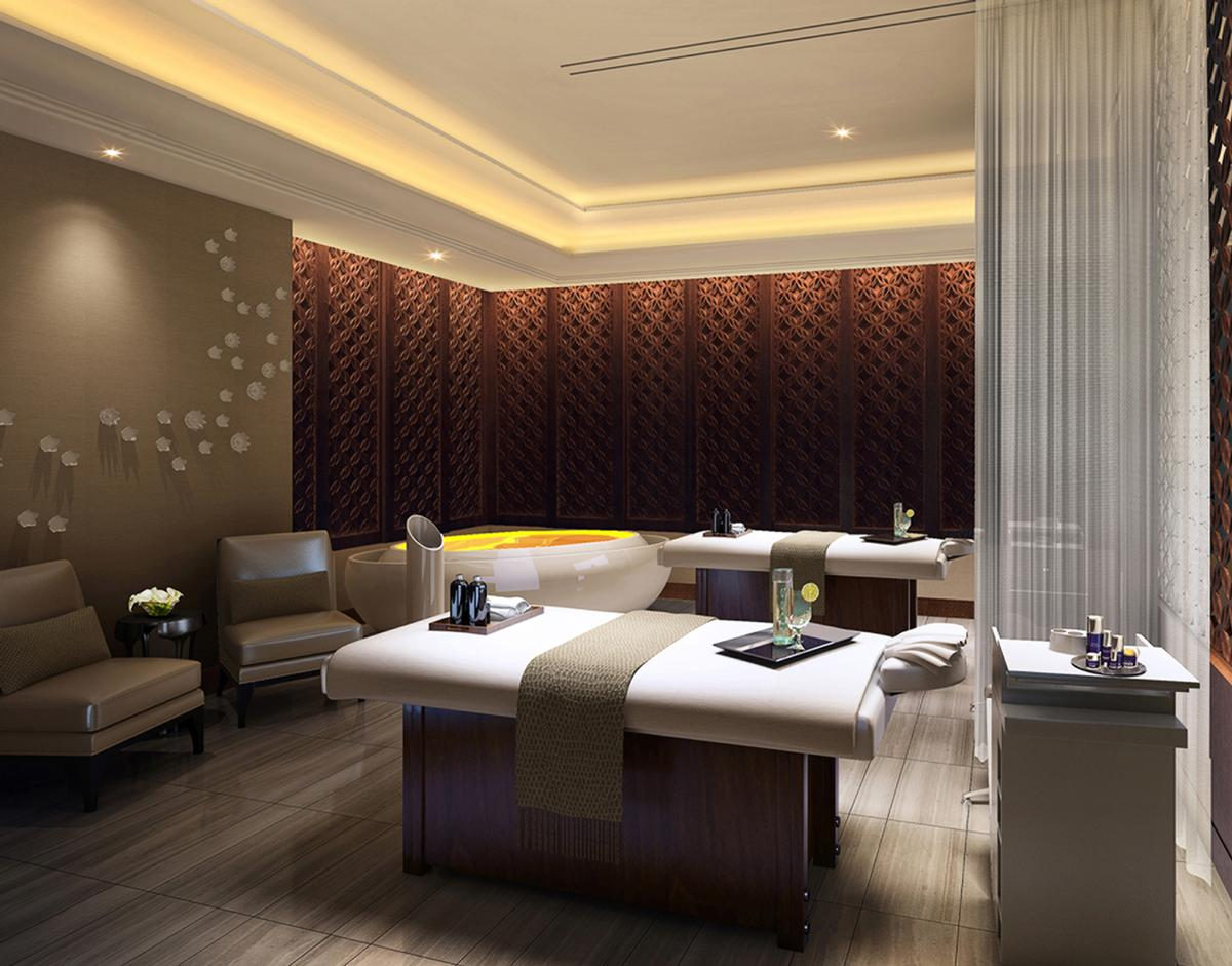 The hotel features a spa that takes its inspiration from Southeast Asian cultures woven together with global influences