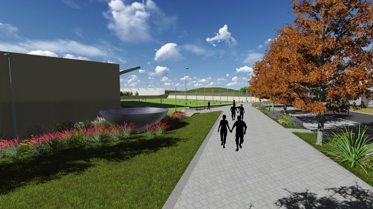 An artist's impression of the exterior of the Olympic Legacy Park