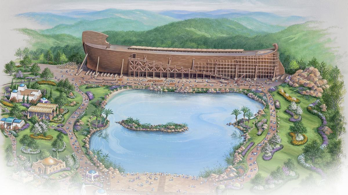 The ark is surrounded by a zoo, a lake, a zip line tour, a garden and a 1,500-seat themed restaurant / The Ark Encounter
