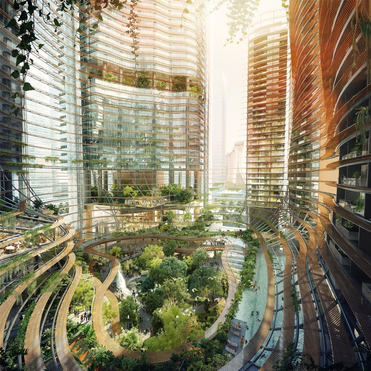Shrubs, trees, and flowers will appear on every floor of the four towers that form Marina One / Ingenhoven Architects