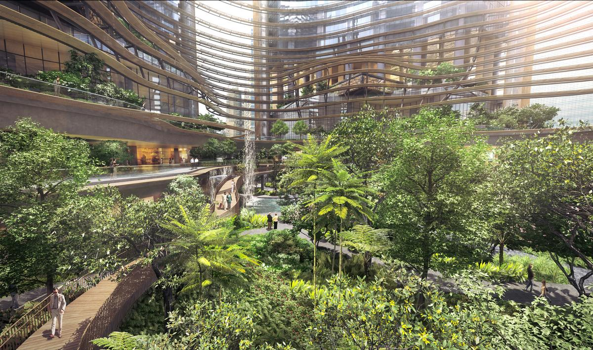 In addition to the abundance of greenery, the environmentally-smart design will utilise solar power, sun-shading, energy-efficient ventilation and a rainwater harvesting system / Ingenhoven Architects
