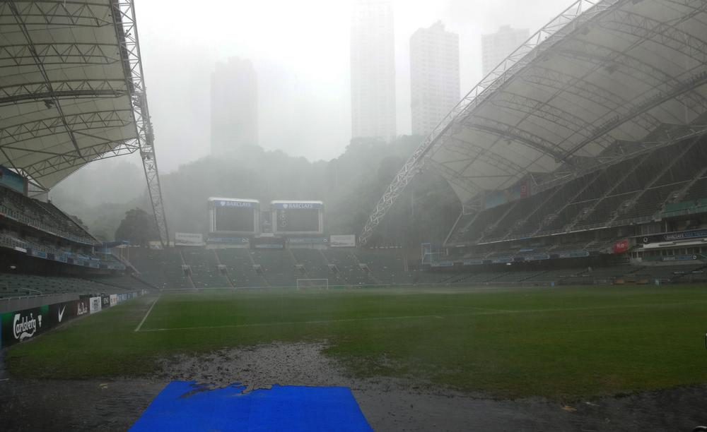 Torrential summer rain rendered the pitch at the Hong Kong stadium unplayable