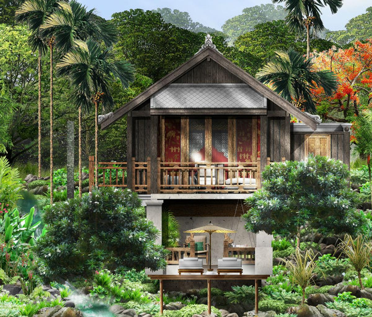 Each accommodation will be unique, but will showcase elements inspired by Lao tradition and French colonial style / Rosewood