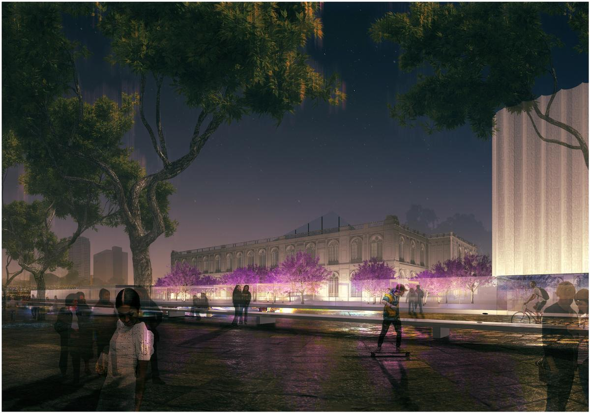 In the winning design, visitors must walk through trees and thick vegetation to reach the new pavilions / Museo de Arte de Lima