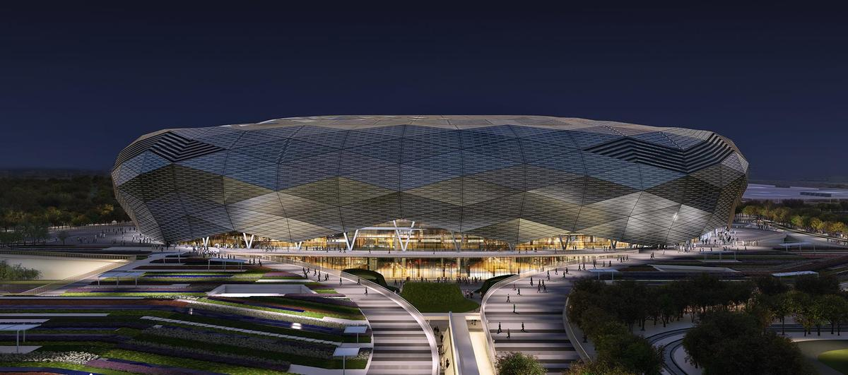 Work set to start on qatar 39 s diamond shaped world cup for Architecture firms in qatar