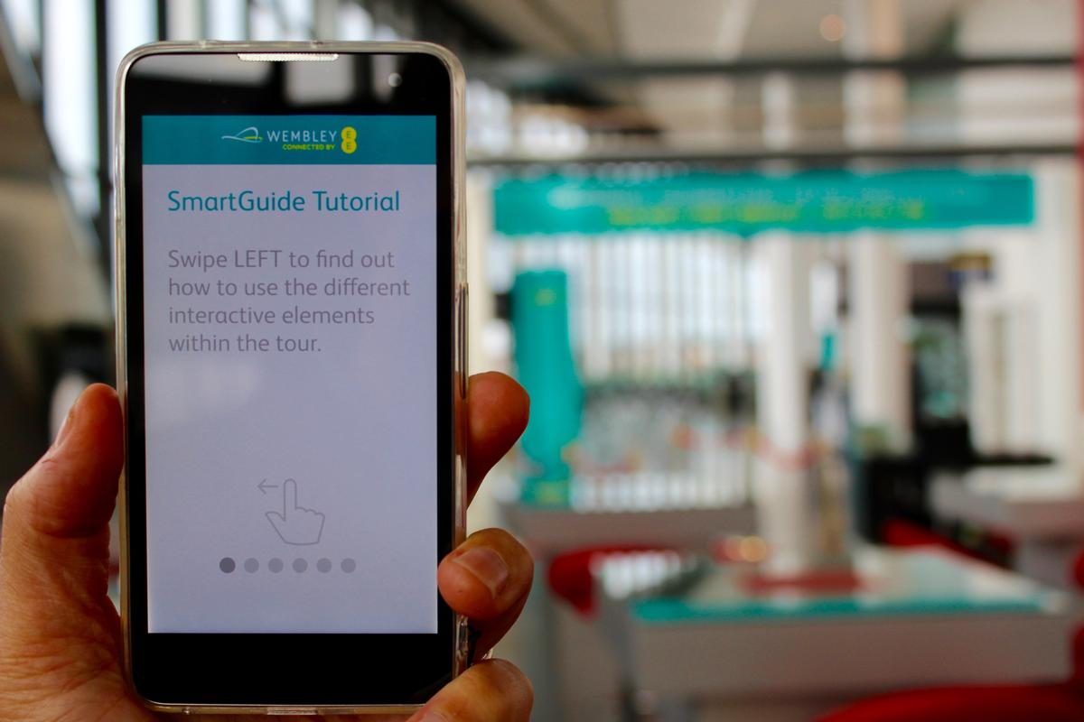 Connected by an EE Harrier smartphone converted into an EE SmartGuide, users can explore the famous stadium while utilising 360 video and AR to relive key sporting and music moments that have taken place at Wembley