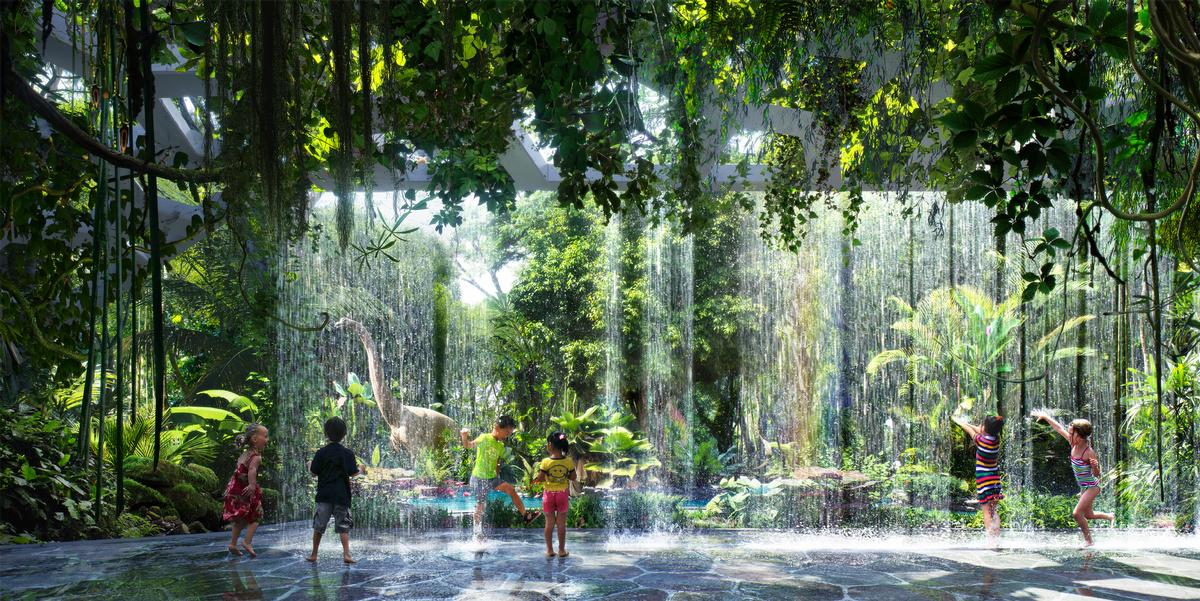 Lush vegetation native to Dubai will be installed on the outdoor podium of the futuristic 53-storey hotel tower / ZAS Architects