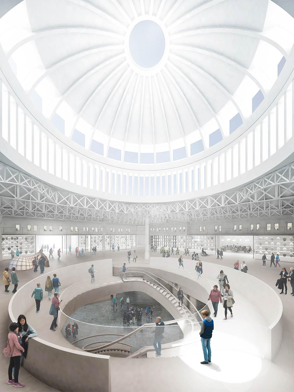 The winning proposal will lift the dome on the market area to create a landmark light-filled entrance to the museum / Stanton Williams and Asif Khan