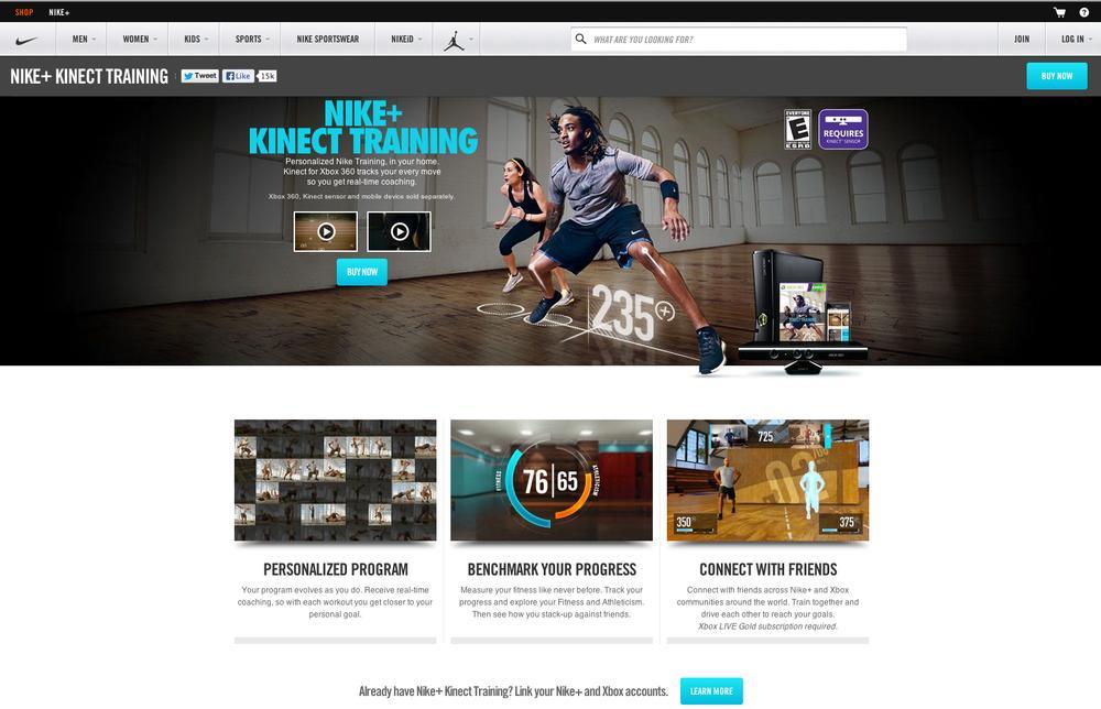 Nike+ Kinect tracks users' movements via sensors as they follow a virtual fitness coach