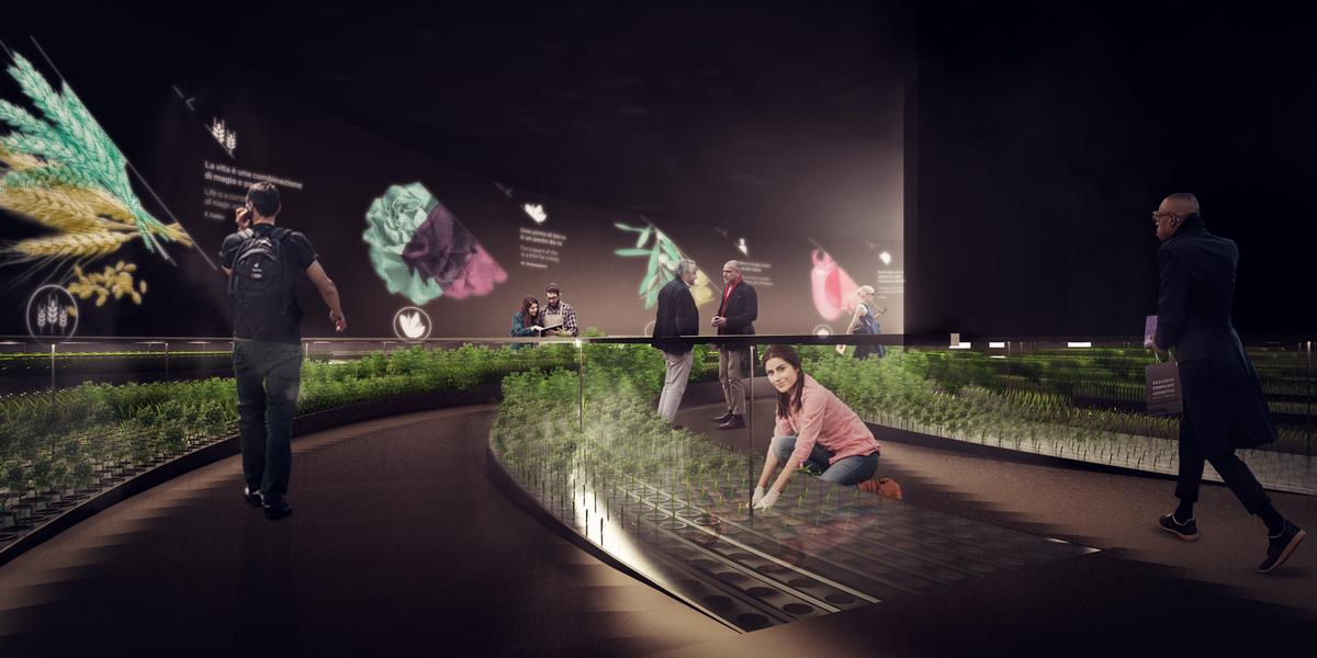 Digital displays will explain the planting process and the importance of sustainable food chains / Carlo Ratti Associati