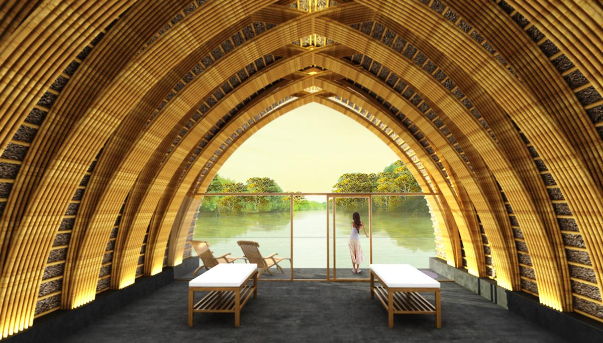 """The combination of stone, glass and bamboo is designed to evoke """"a reserved simplicity"""" and to reconnect visitors with nature / Vo Trong Nghia Architects"""