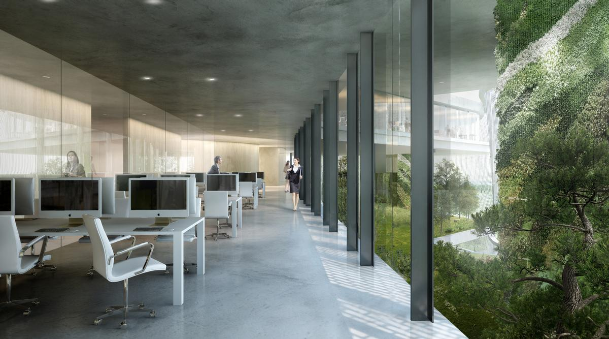 Each design brand will have its own office in one of the six arms of the building / MAD Architects
