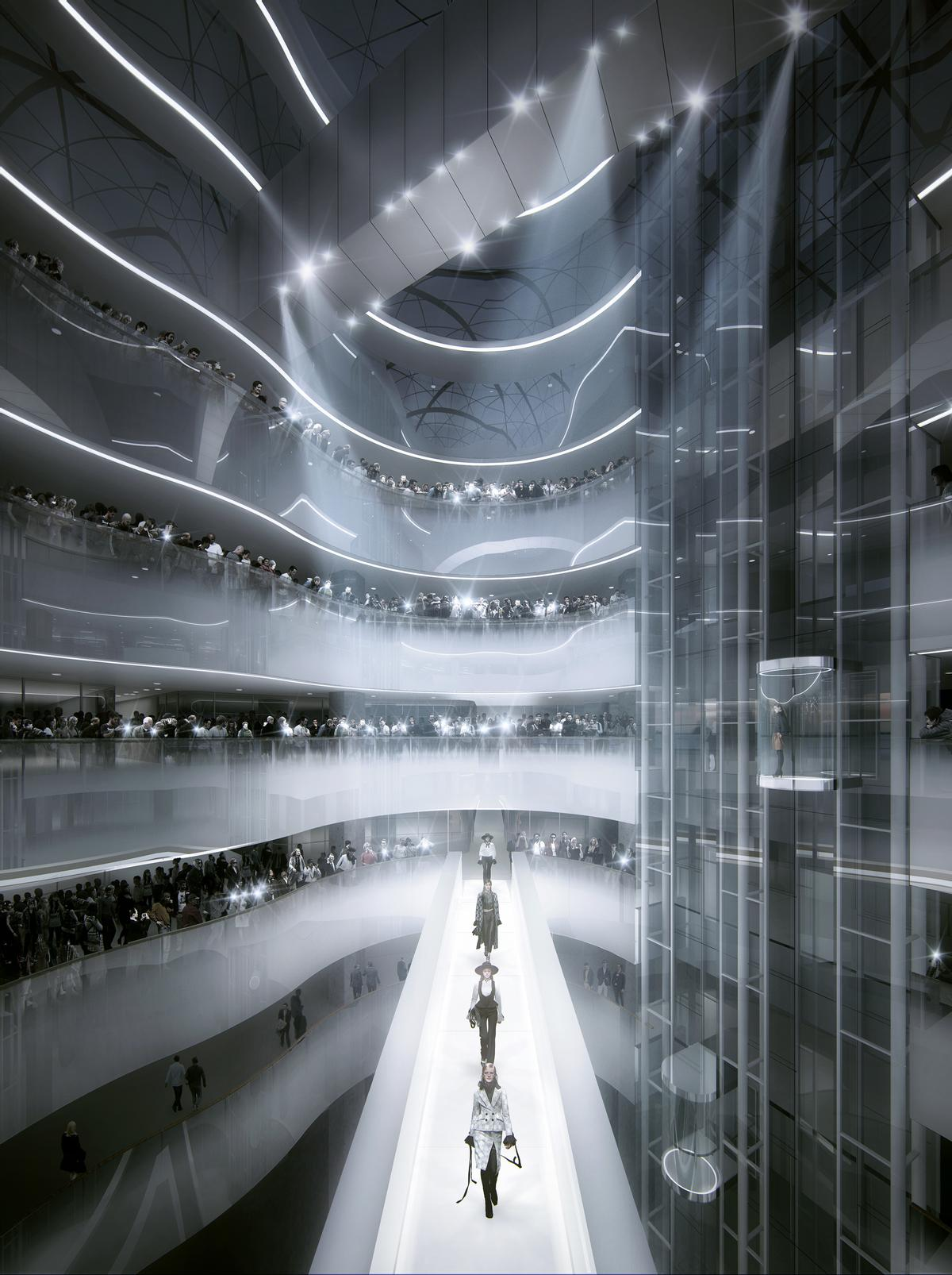 The atrium's footbridge will be used as a catwalk in fashion shows / MAD Architects