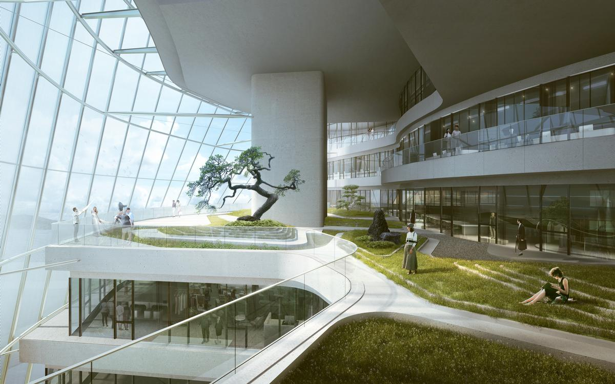 Indoor gardens will be located throughout the building, with those in the atrium open to the public / MAD Architects