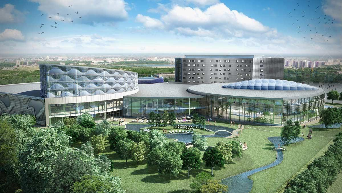 In addition to the waterpark, the facility will offer a 170-bedroom hotel, as well as a complex of baths and saunas