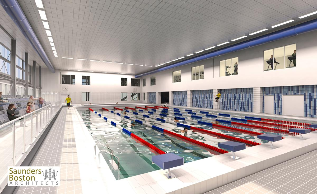 Plan of swimming pool at Romford Leisure Centre / Saunders Boston