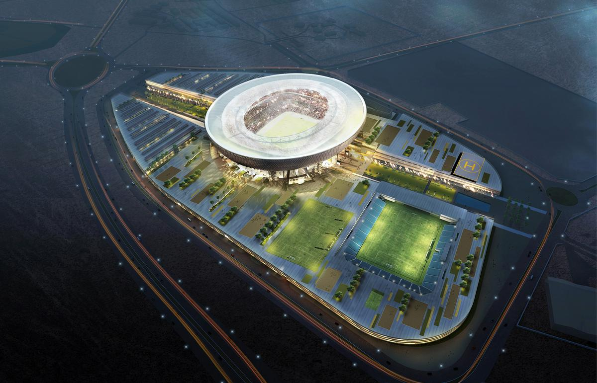 The stadium is part of a wider multi-use complex which will cost some AED3bn / Perkins + Will