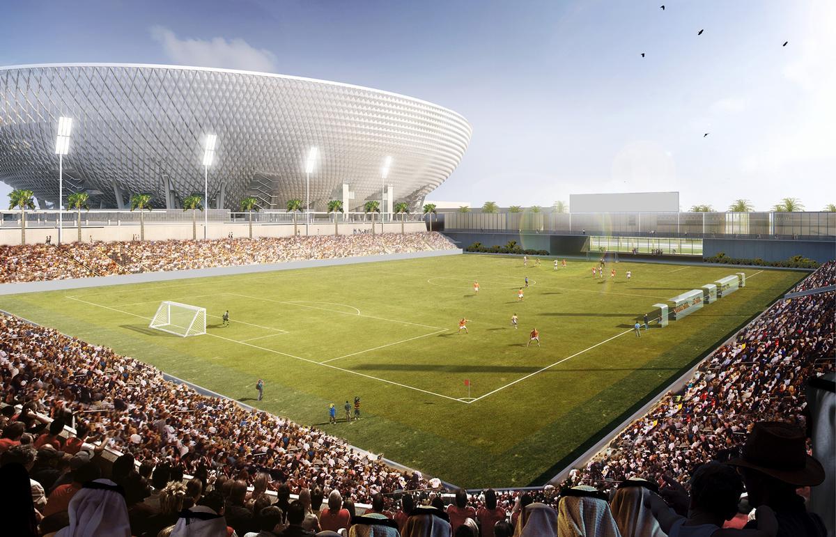 Training pitches will surround the main stadium / Perkins + Will