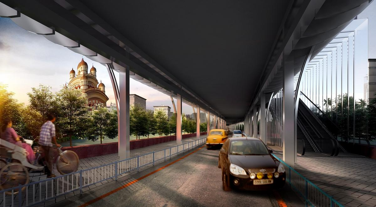 The road for motorised vehicles will run beneath the Skywalk / Design Forum International
