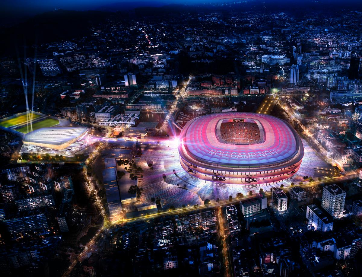 At night the stadium will be illuminated in the club's colouts / FC Barcelona
