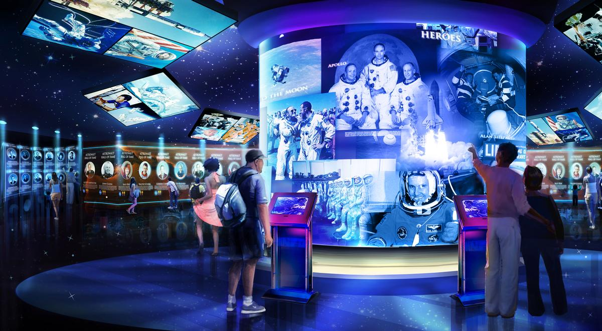The attraction will culminate with the US Astronaut Hall of Fame / Kennedy Space Center