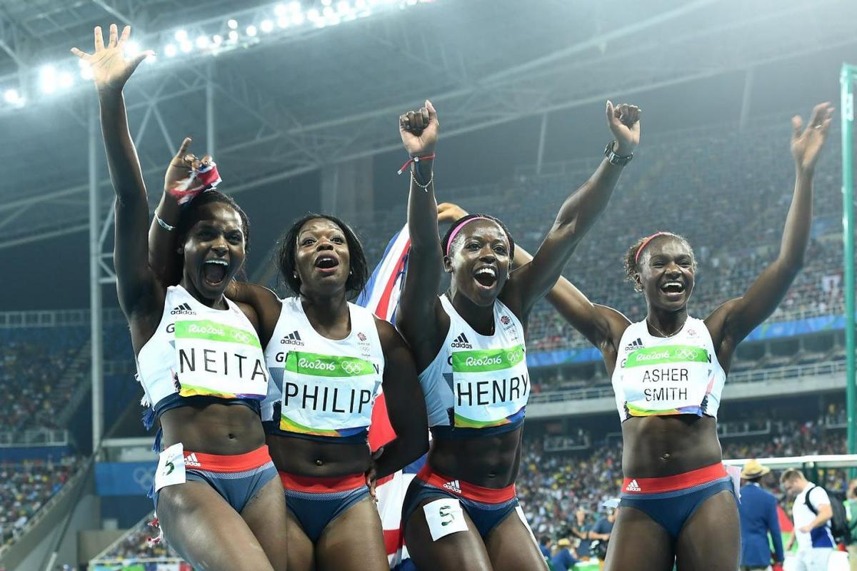 Daryll Neita (far left), Dina Asher-Smith (far right) won bronze medals
