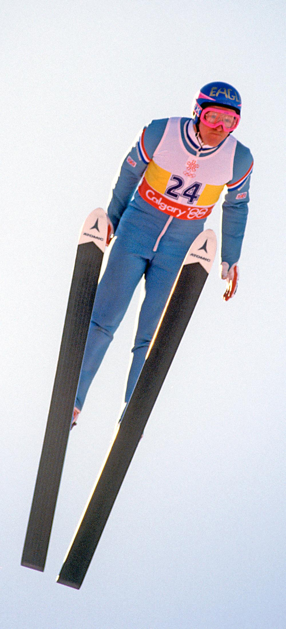 Edwards in action at the 1988 Winter Olympics – his life has inspired a Hollywood film