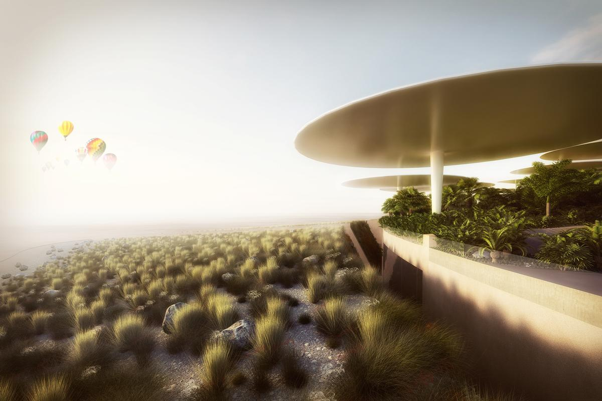 The winning design features a series of futuristic white dishes sheltering the facilities and one leaning tower densely clustered together and surrounded by desert / WW+P