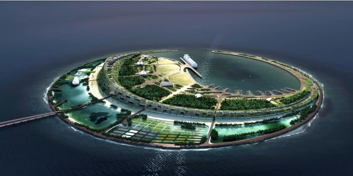 Called South Sea Pearl Artificial Island, the crescent-shaped area of land is connected to the mainland by a bridge