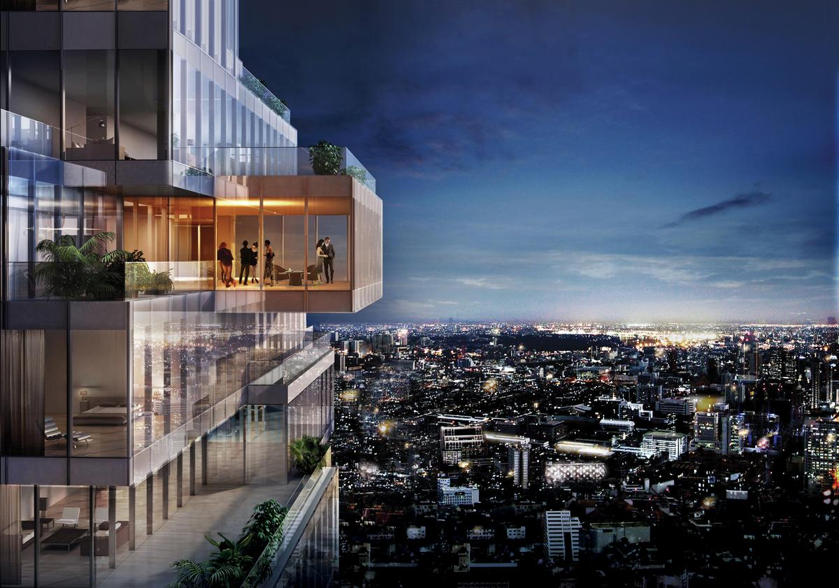Residences are housed in the extended glass skyboxes / Buro Ole Scheeren/OMA