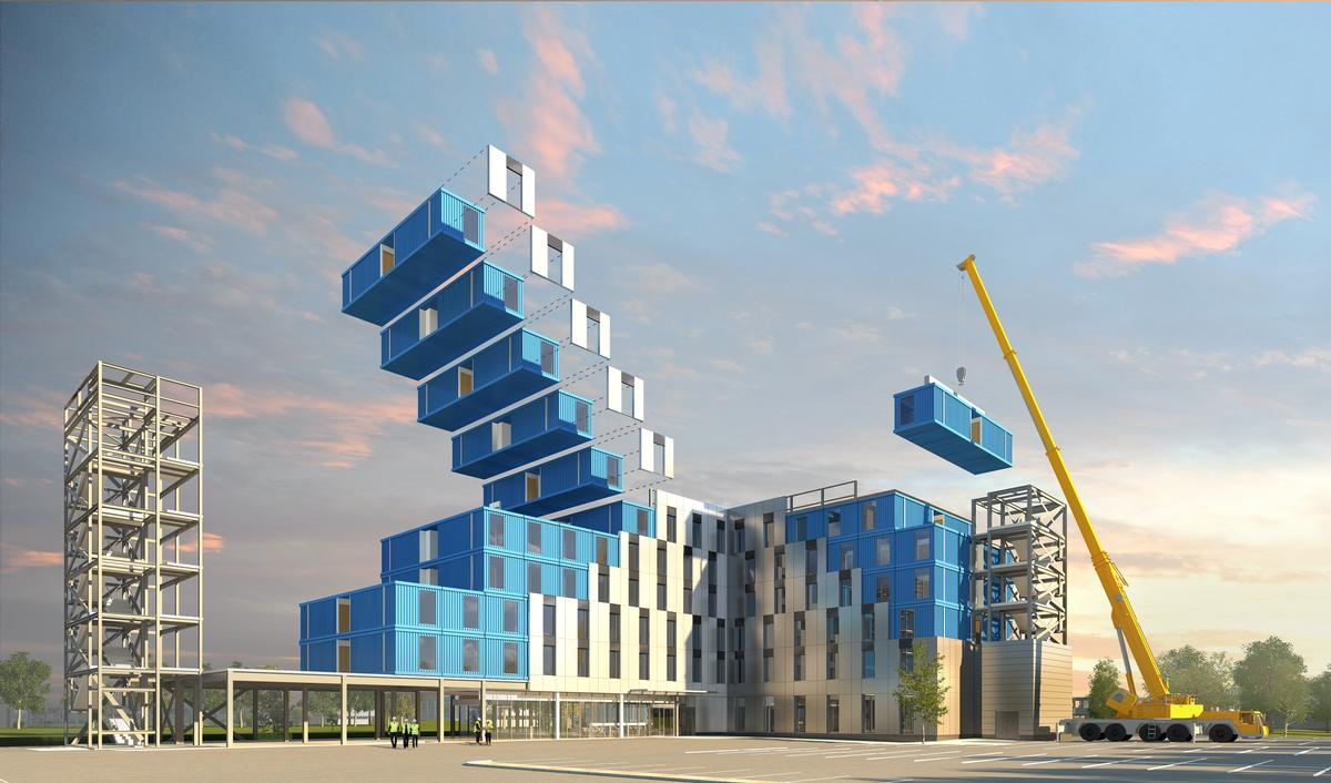 The modules, made from shipping containers, will take up to a month to install / Chapman Taylor
