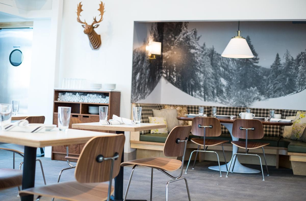 """The design of Los Angeles eatery Little Pine is intended to evoke a """"simple and unpretentious mid-century Scandinavian ski house / Little Pine"""