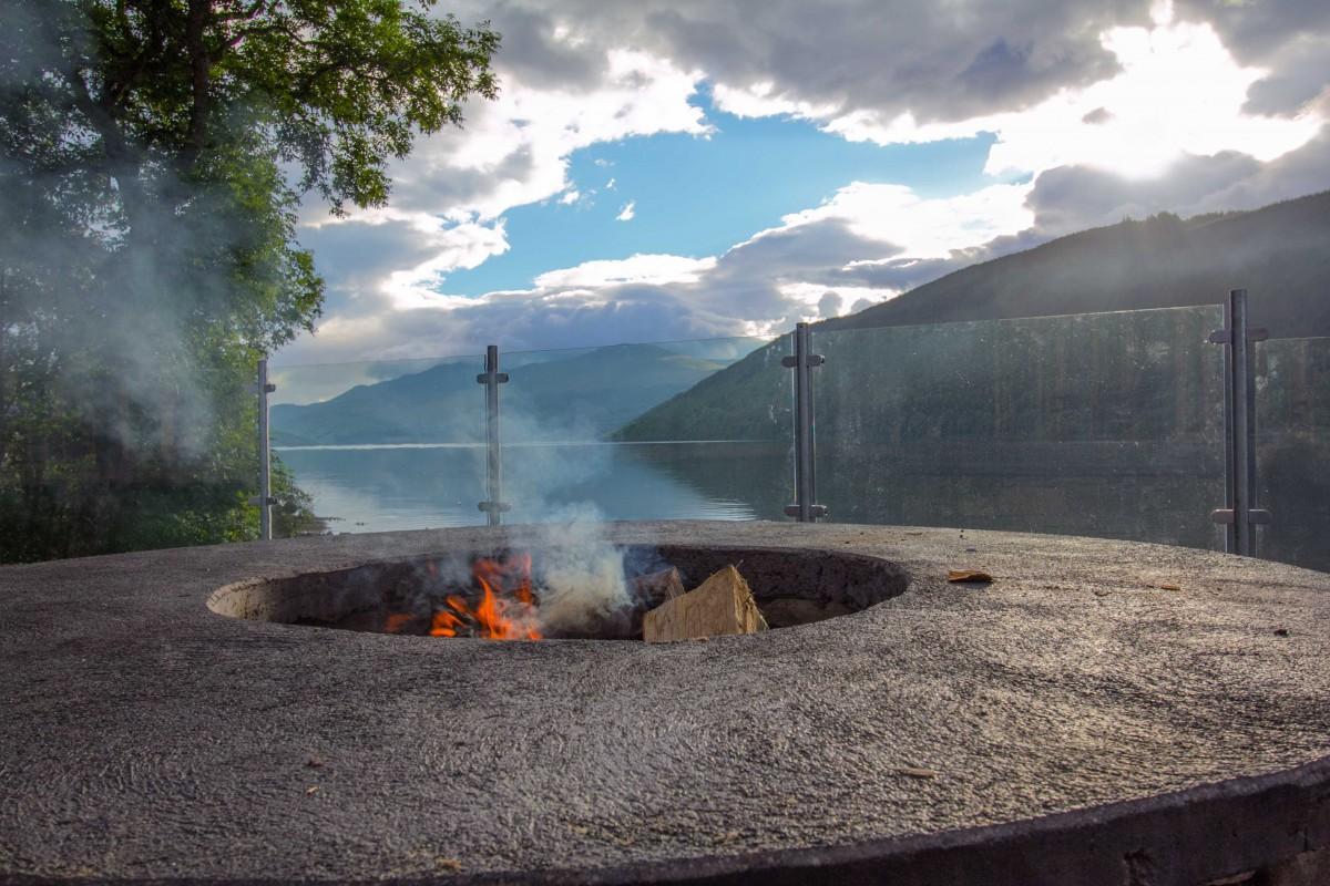 The sauna features a communal fire pit / McKenzie Strickland Associates