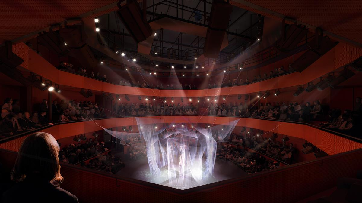 The Perelman Center will be a one-of-a-kind home for dance, theater, contemporary chamber opera, music and a venue for the Tribeca Film Festival / Render by Luxigon