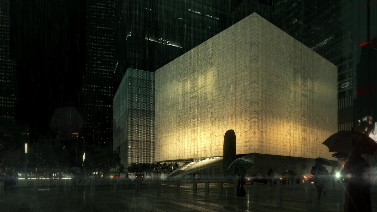 At night the building will take on the form of a glowing cube, similar to that of a Chinese paper lantern / Render by Luxigon