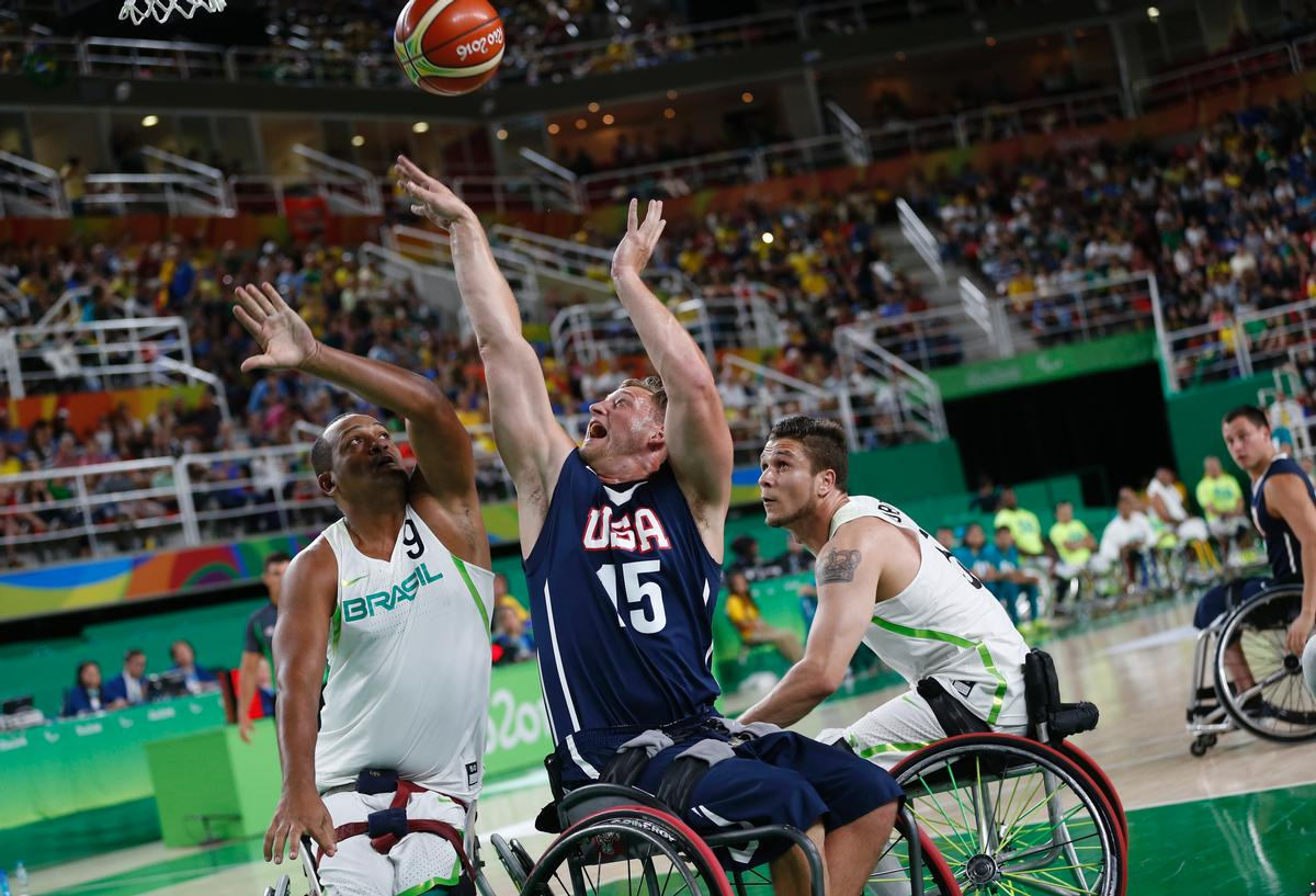 Wheelchair basketball is one of many Paralympic events currently being held in AECOM's Barra Olympic Park / Silvia Izquierdo/AP/Press Association Images