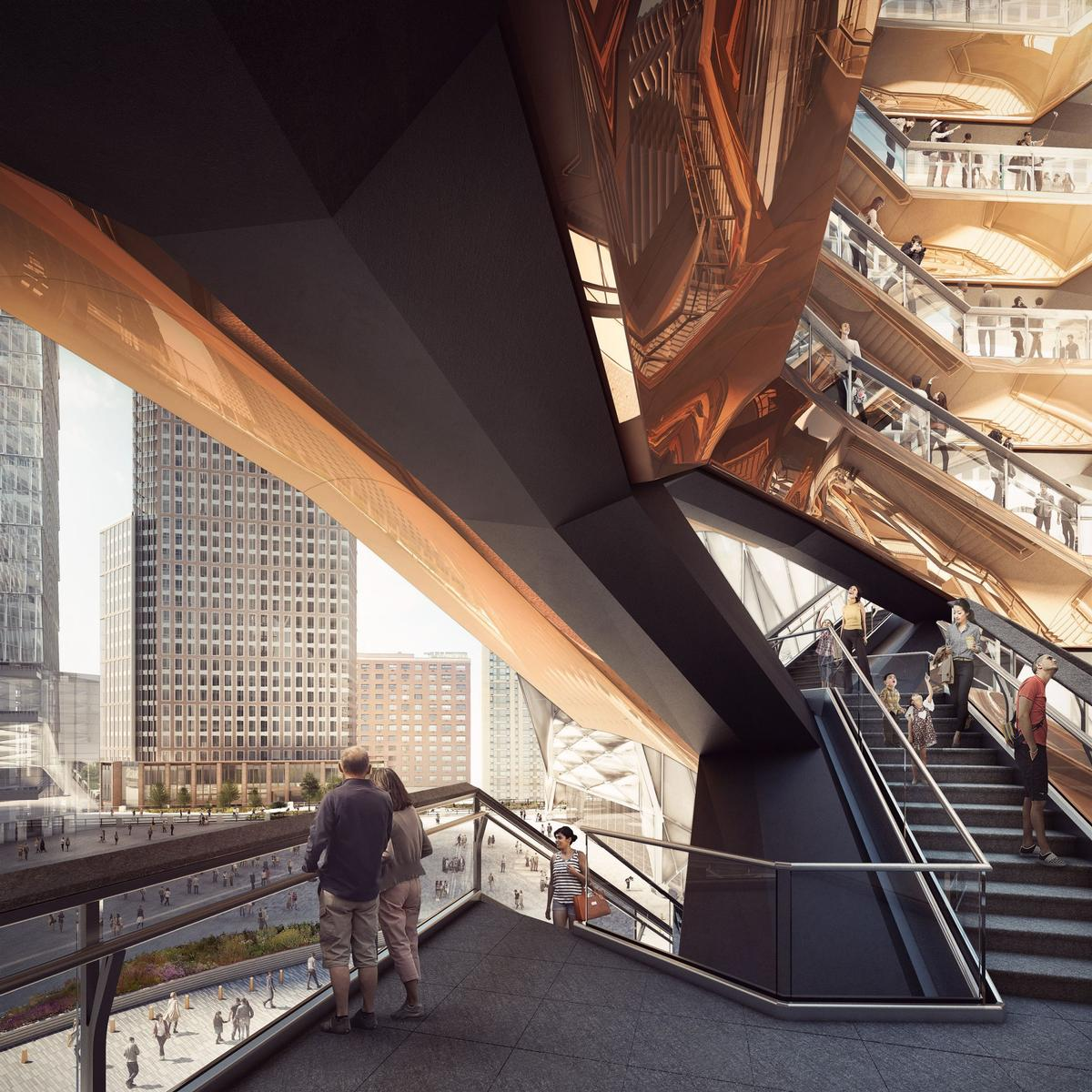 Heatherwick Studio said 'Vessel will lift the public up, offering new ways to look at New York, Hudson Yards and each other' / Forbes Massie