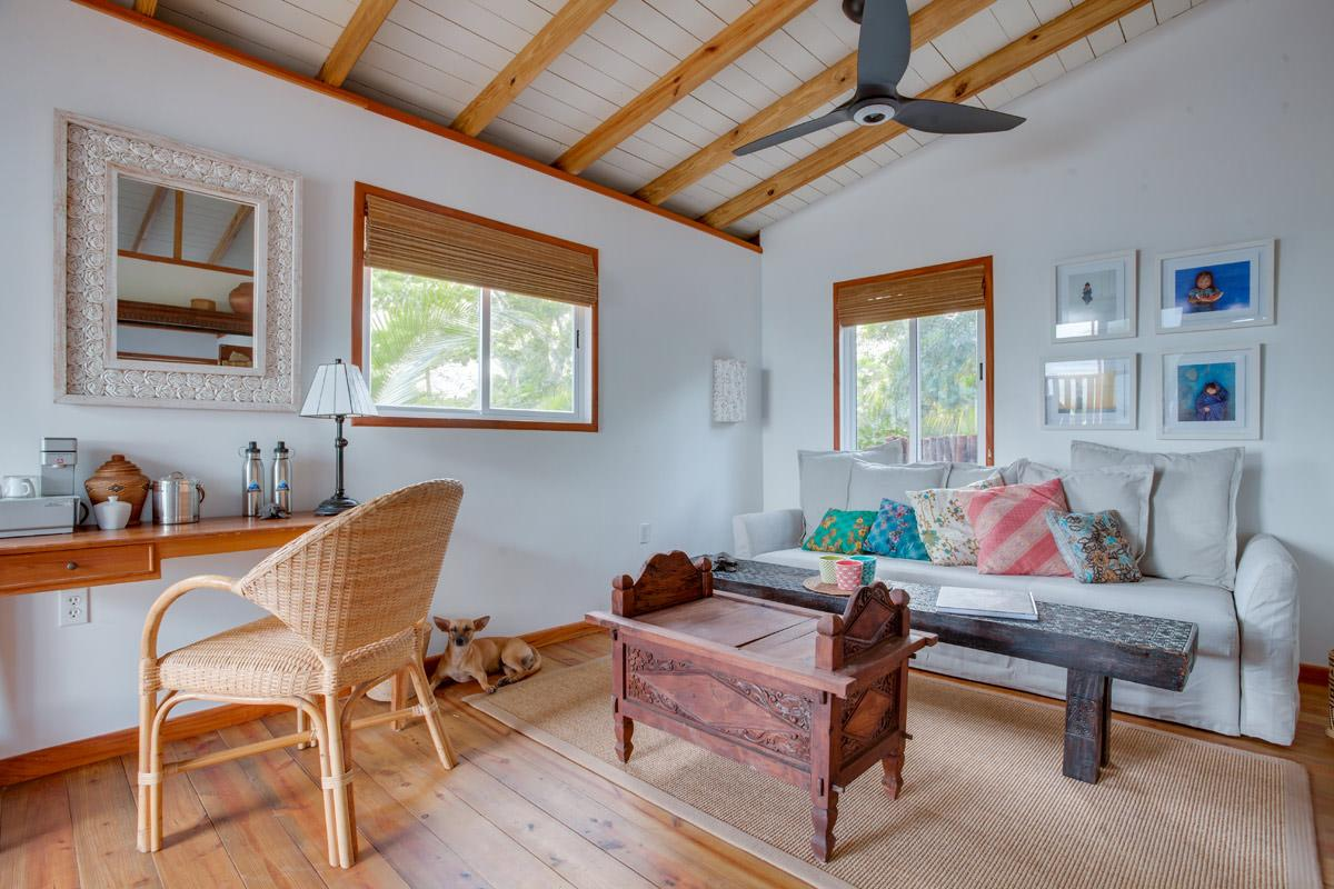 The new structure has been built in a rustic style, with 'airy fabrics, open space, seaside-inspired colours, beachy accents, sturdy woods to withstand sandy feet and salty air, and tones to reflect the sea and sky' / The Family Coppola