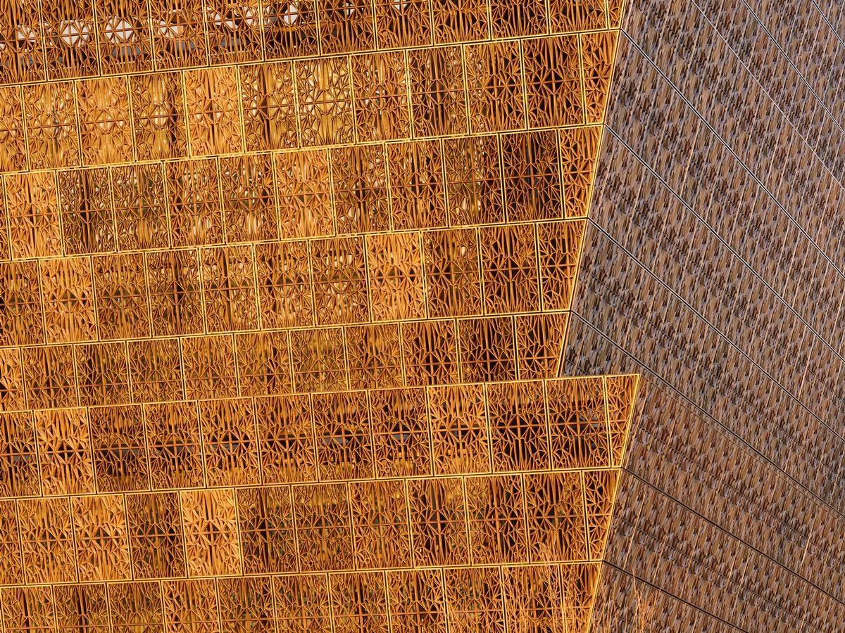 The patterned facade evokes the architectural ironwork made by African American artisans in southern US cities before and after the Civil War / Alan Karchmer/NMAAHC