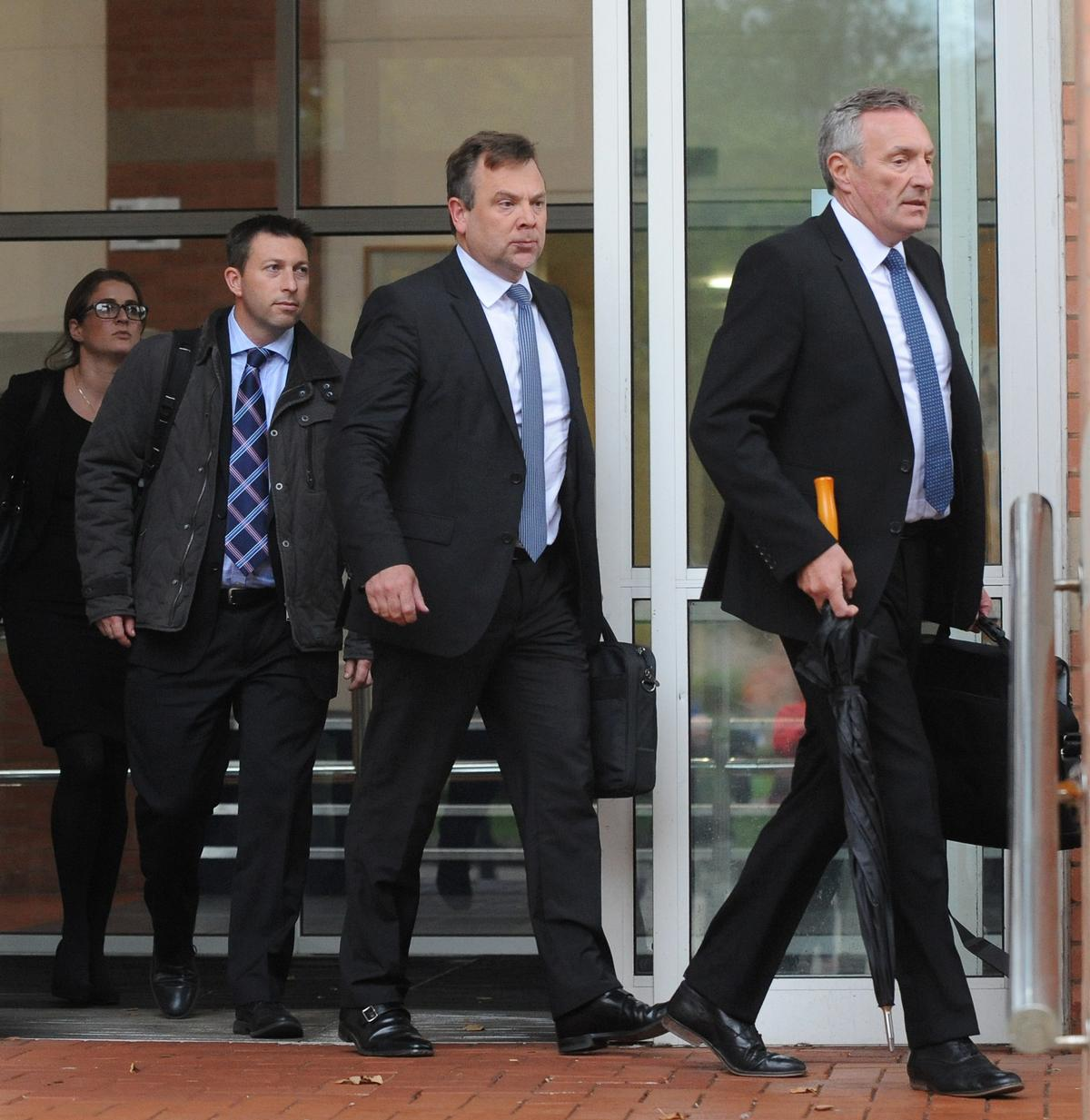 Merlin's Dominic Wigley (left) Matt Jowett (centre) and Ian Crabbe (right) leaving Stafford Crown Court / Rui Vieira/PA Wire/Press Association Images