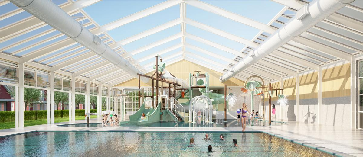 opulent design retractable roof. On fine days the  Open Sky roof of building will automatically retract up to 50 per cent its total area admit sunshine daylight and fresh air Dutch holiday park looks lengthen leisure season by