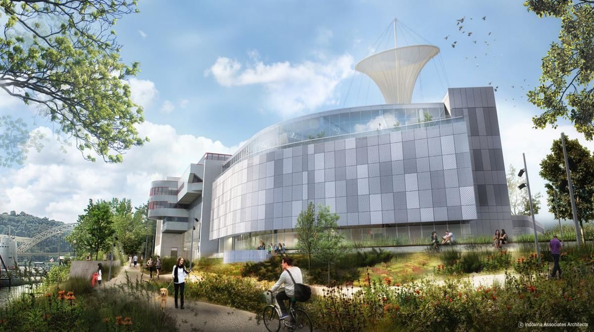 Designed by Indovina Associates Architects, the three-storey building will be built around the existing Omnimax Theater